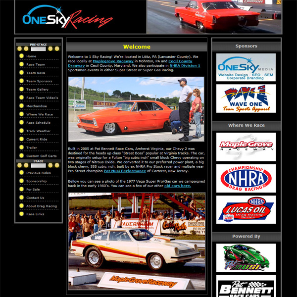 One Sky Racing -Our own drag racing website design