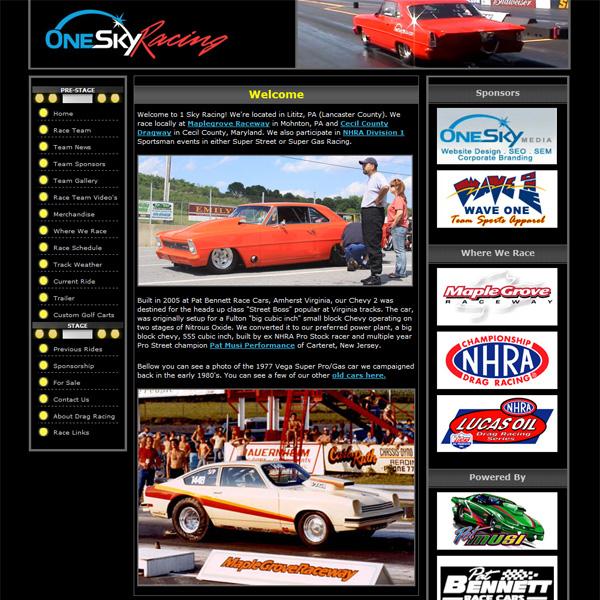 One Sky Racing - drag racing team website design