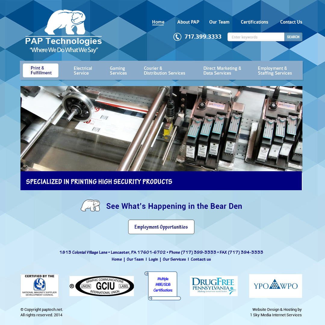 PAP Technologies - printing company website design