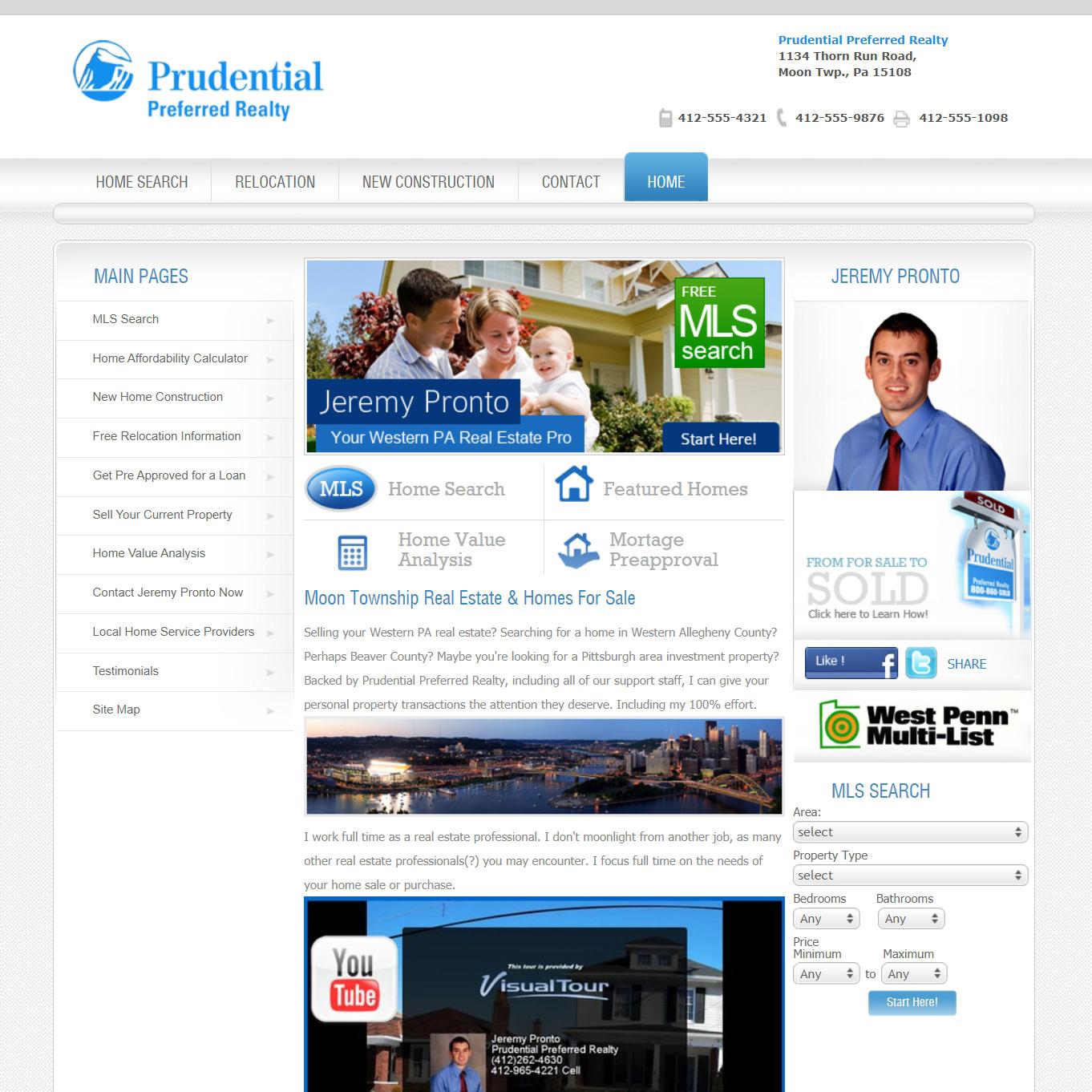 Prudential Preferred Realty - real estate website design