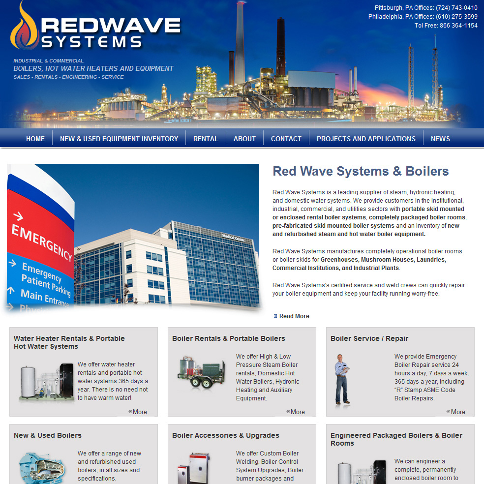Red Wave Systems 2008 -residential & commercial boiler sales and service website design