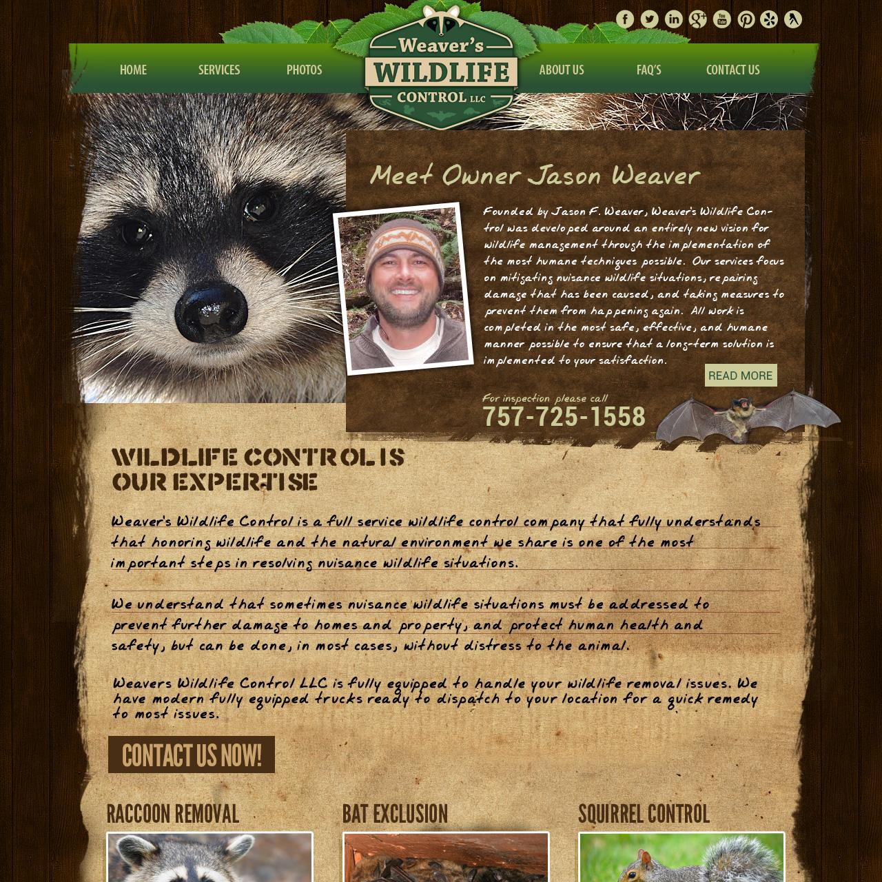 Weaver Wildlife Control - pest elimination website design