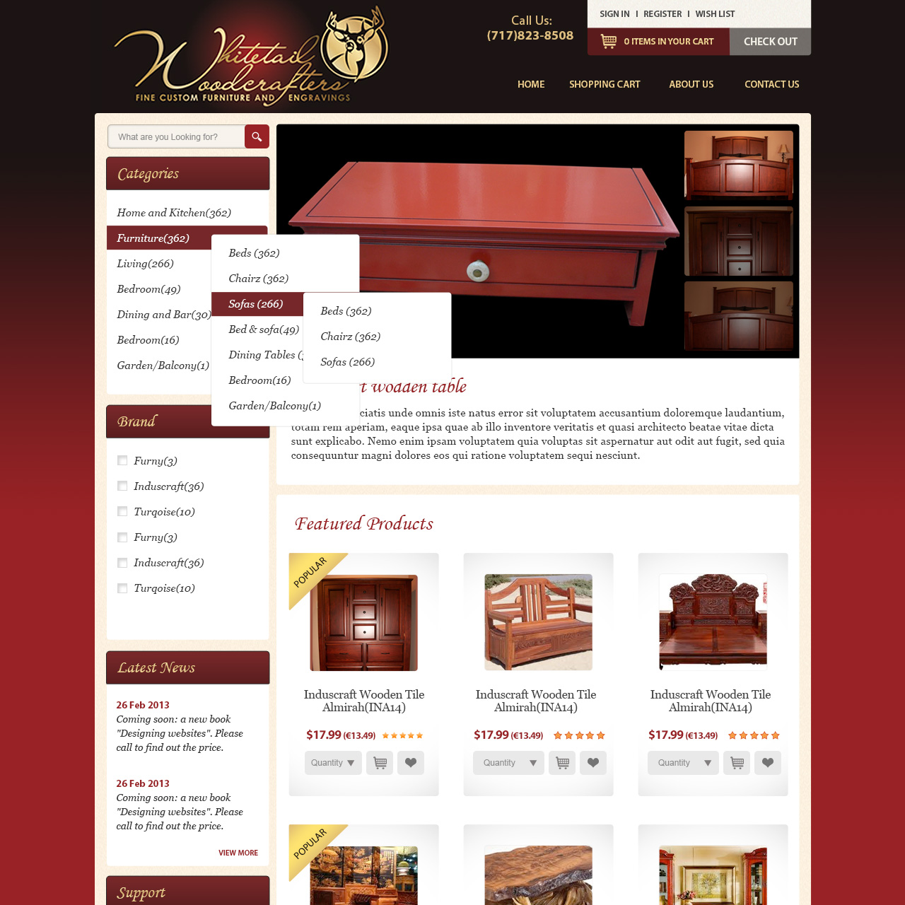 Whitetail Woodcrafters -  woodworking eccomerce website design