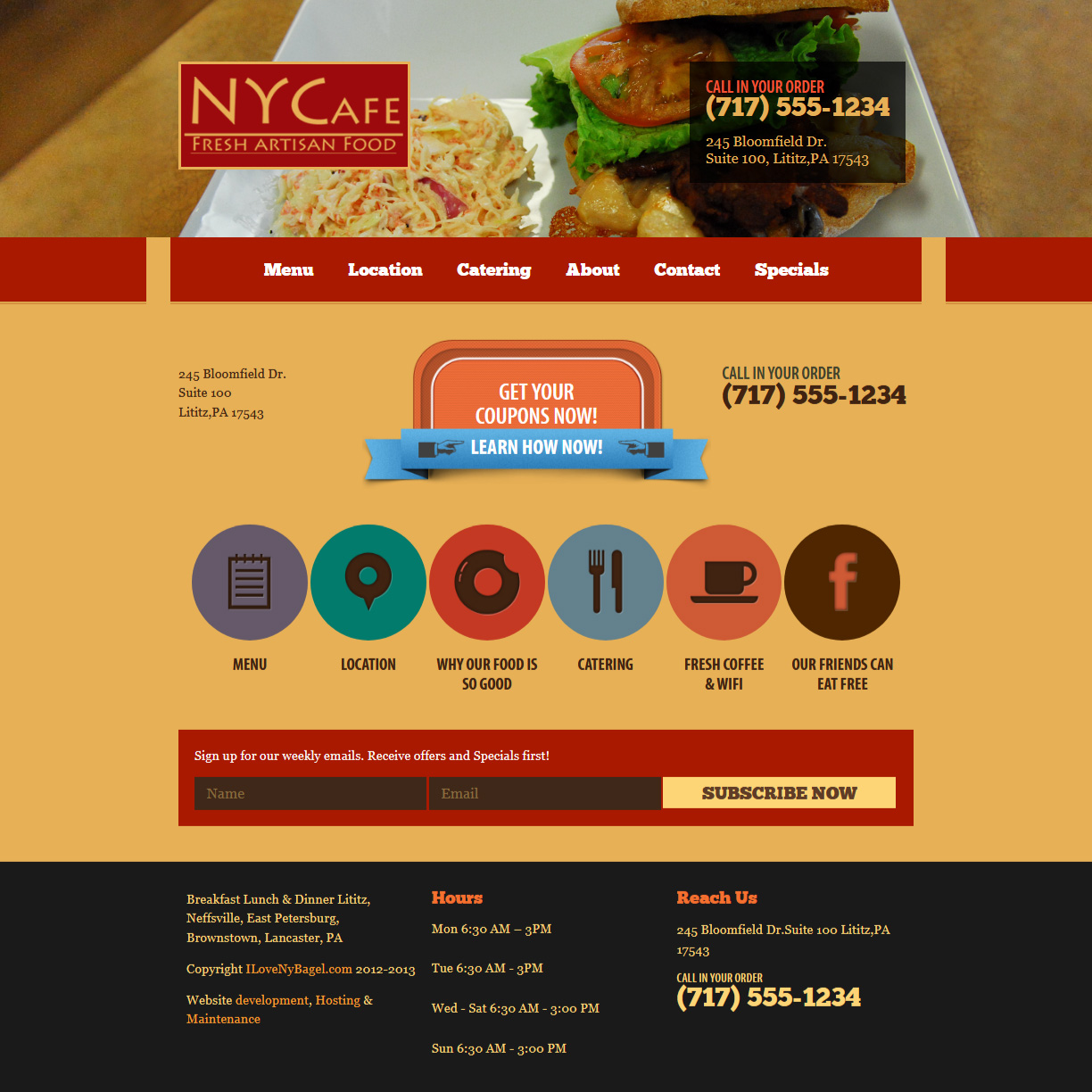 NY Café - coffee shop website design