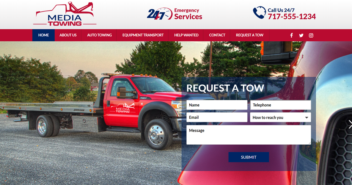 Towing Website Design Example