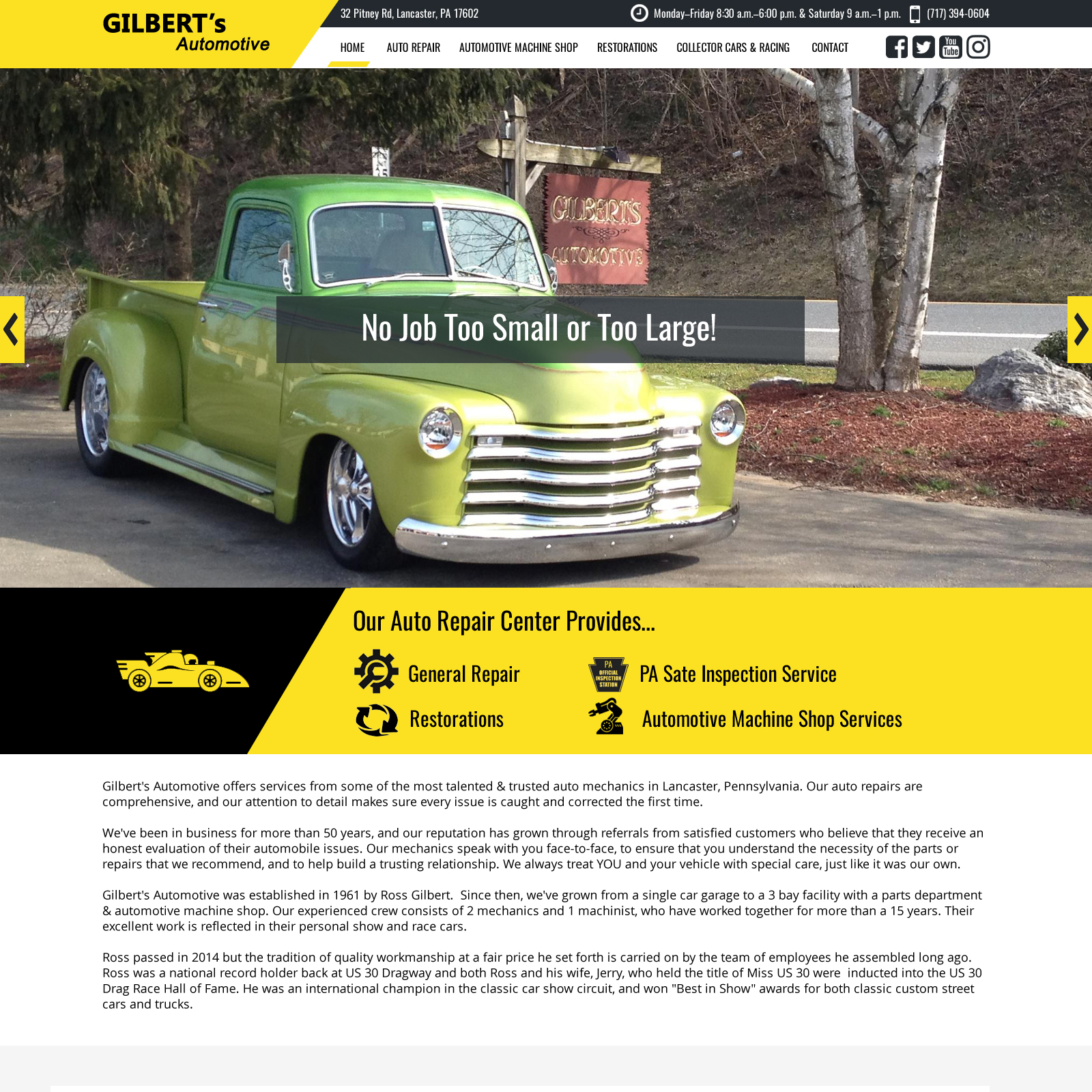Gilberts Automobile Auto Repair Center Website Design