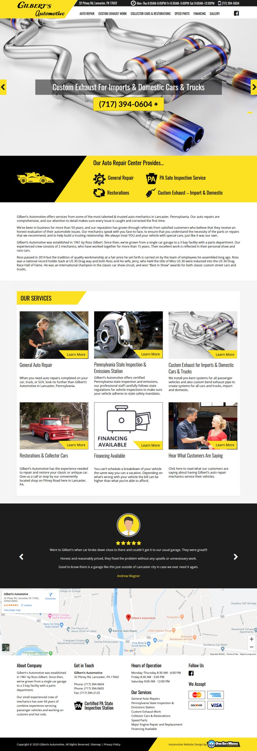 Gilberts Automobile Auto Repair Center Website Design