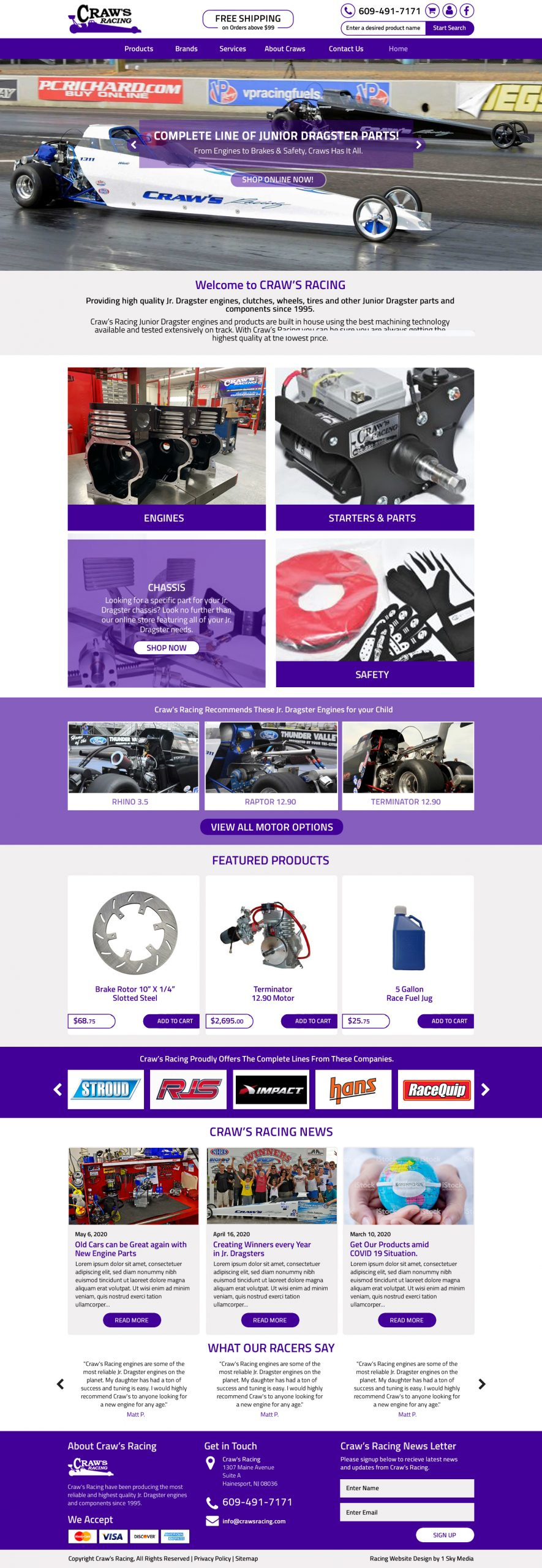 Craw's Junior Drag Racing Website Design Website Design
