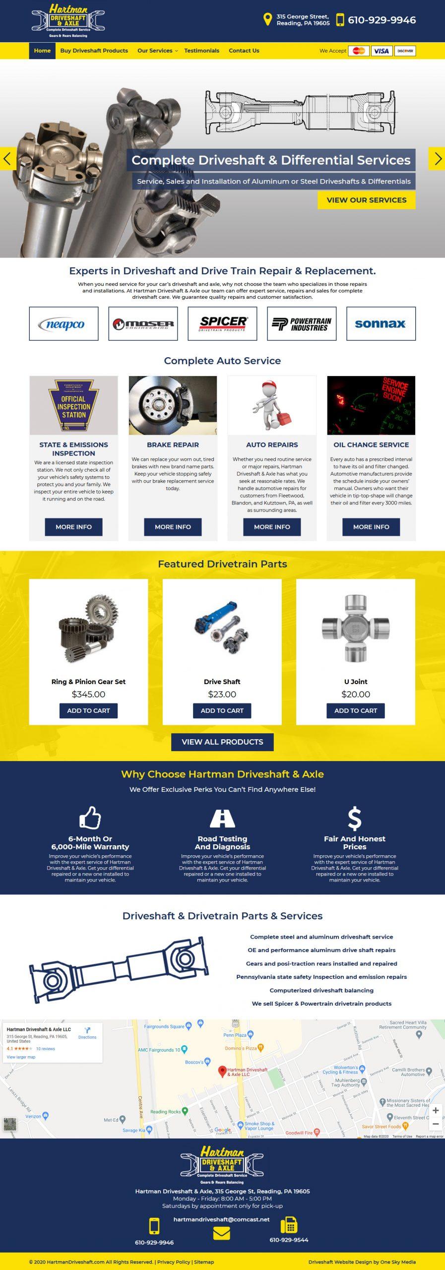 Hartman Driveshaft & Axle Website Design