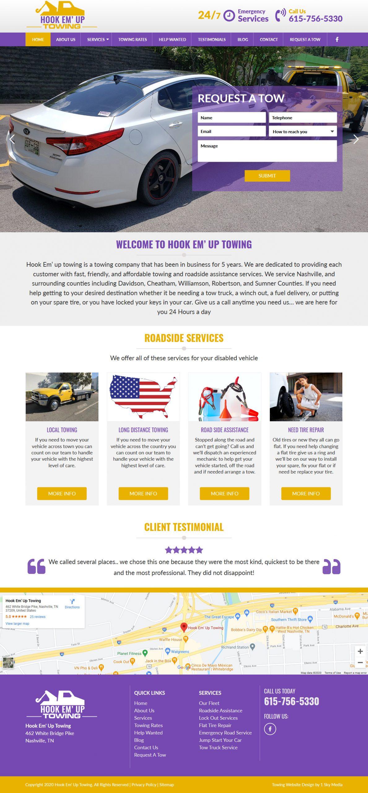 HookEmUp Towing Website Design