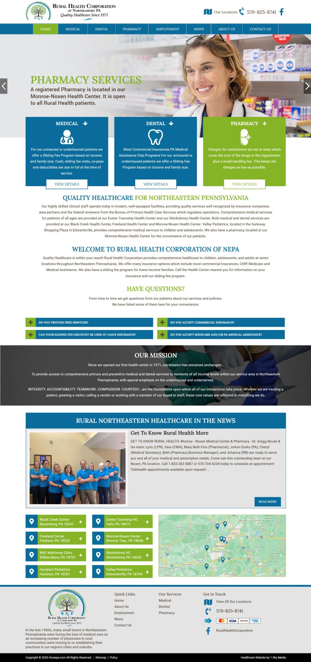 Rural Health Corporation of NEPA Website Design