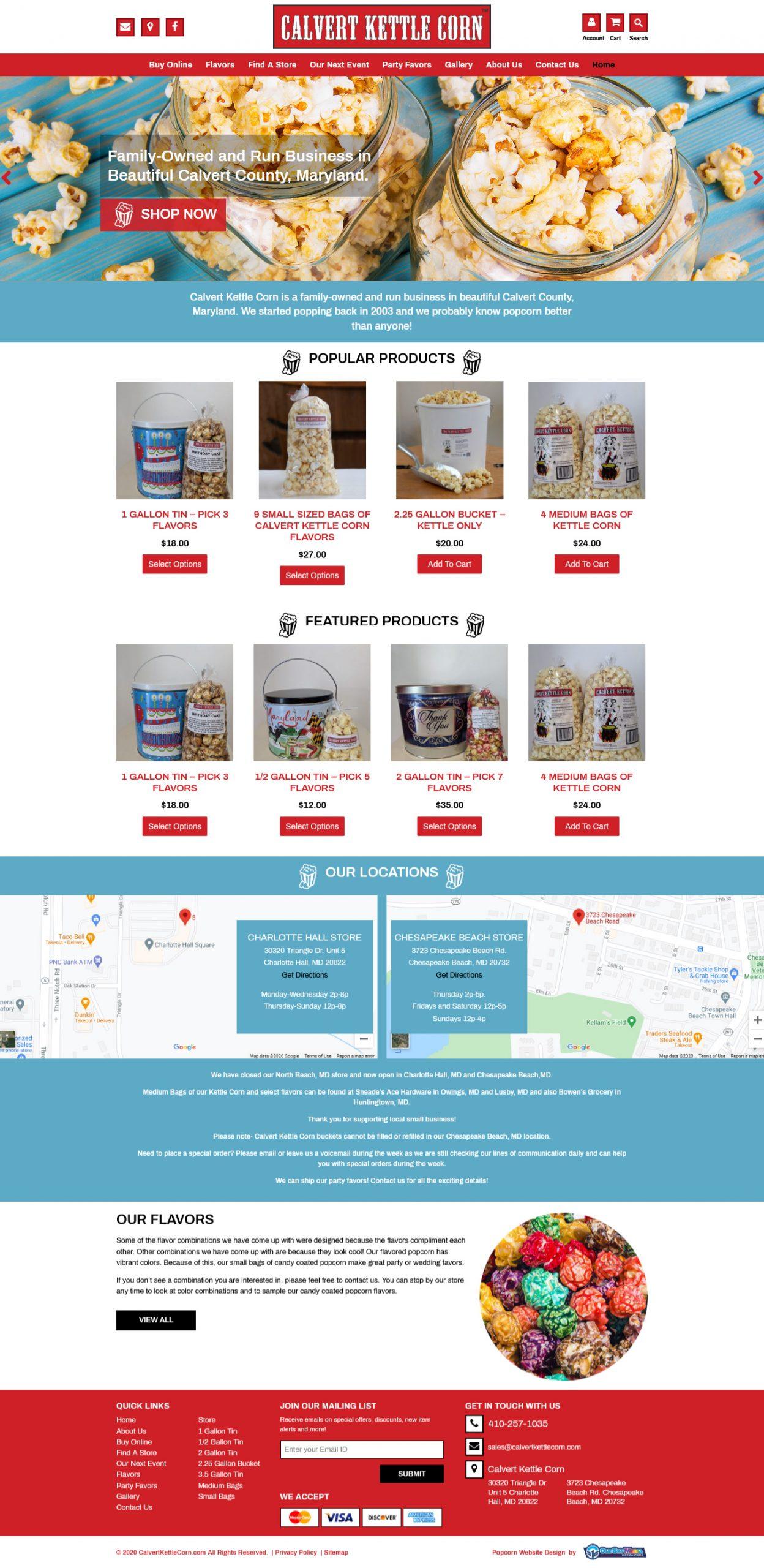 Calvert Kettle Corn Website Design