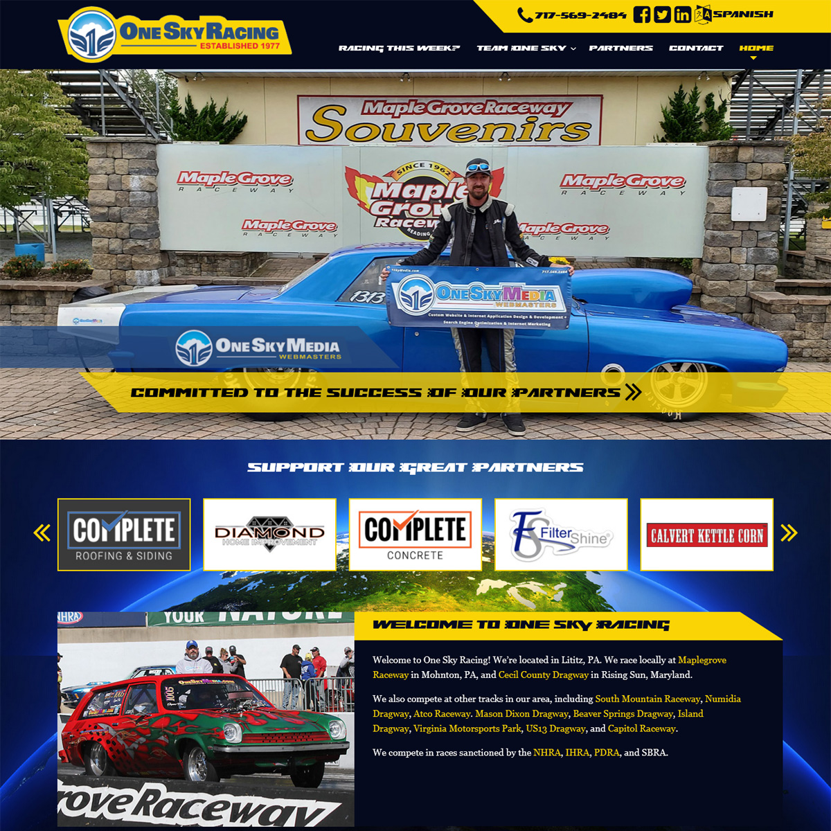 Drag Racing Team Website Design