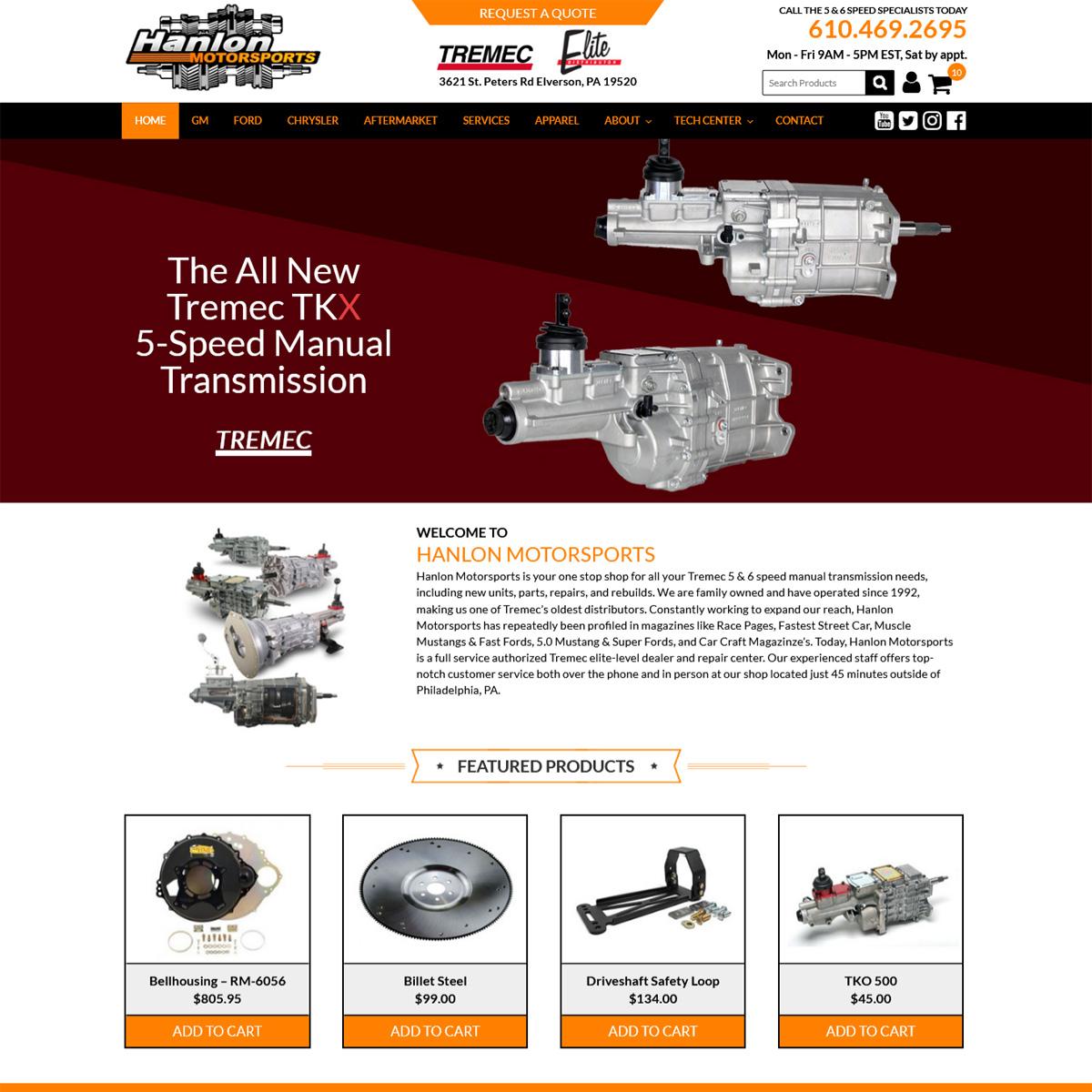Hanlon Motorsports Website Design