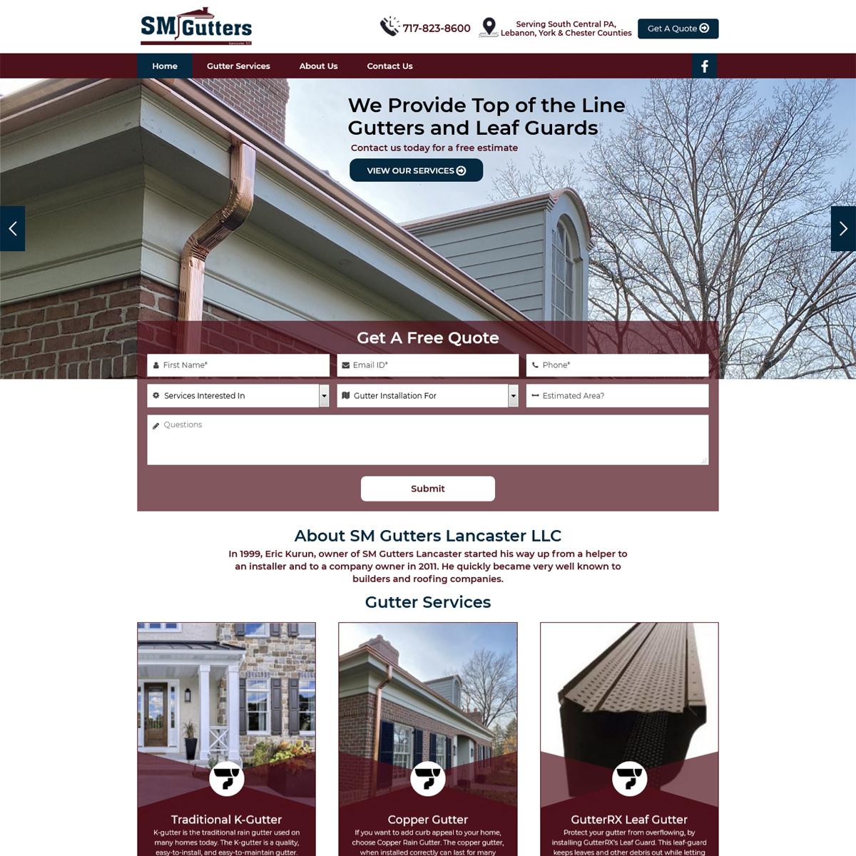 SM Gutters Website Design