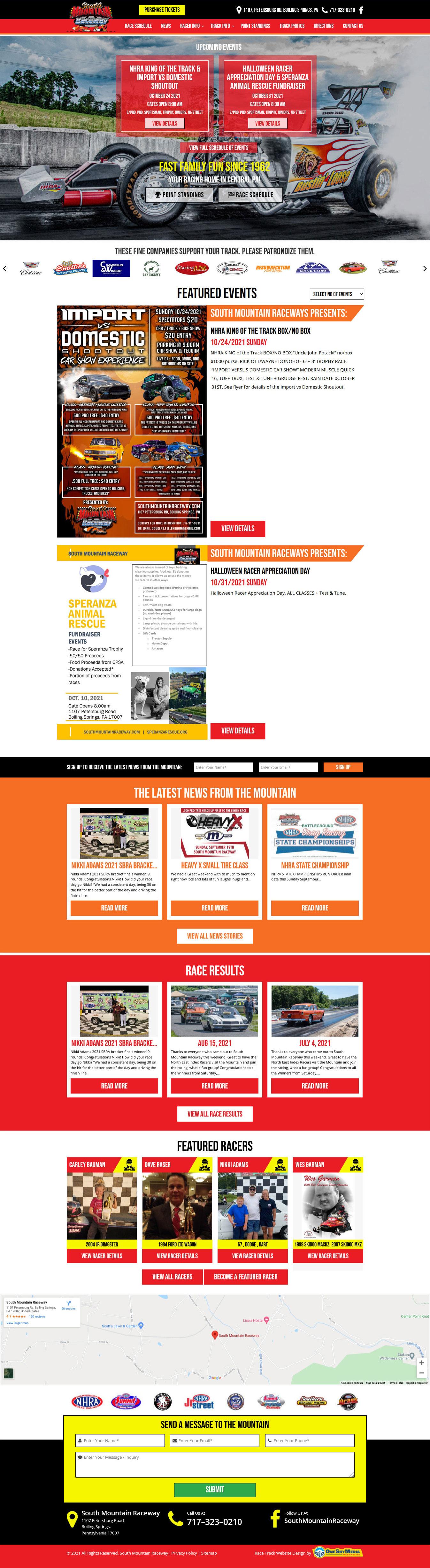 South Mountain Raceway – Drag Strip Website Website Design